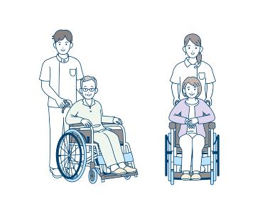 車いす 車椅子に座る年配の男女 介護 看護師 ヘルパー 患者 シニア 高齢者 イラスト素材