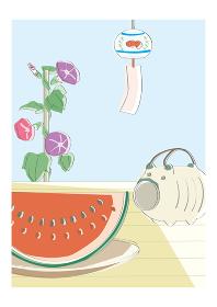 夏 風鈴、アサガオ、蚊取り線香、スイカ 風物詩