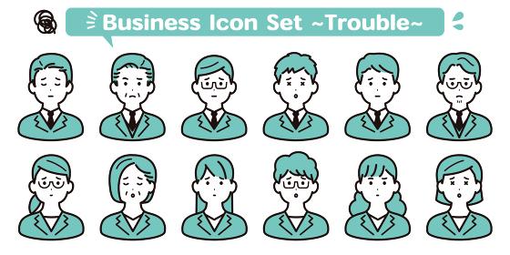 ビジネス シンプルな人物アイコン素材セット 困る・悩む