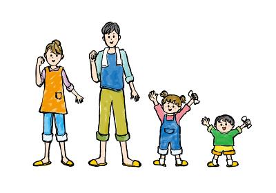 人物、ライフスタイル・生活、生活、家族、ファミリー、ベクター素材、笑顔、微笑み、微笑む、シンプル