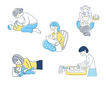 赤ちゃんとママ さまざまなシーン セット