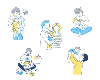 育児をするパパ さまざまなシーン セット