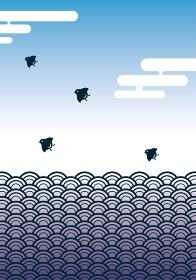和柄波千鳥の背景イラスト 青海波文様と千鳥 年賀状暑中見舞い素材
