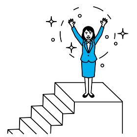 階段の上でバンザイをする女性