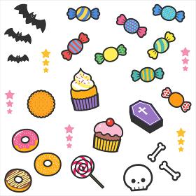 ハロウィンパーティーのお菓子や飾りパーツセット/線あり