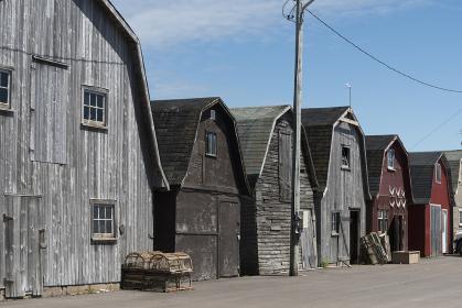 Fishing sheds at harbor, Lot 18, Prince County, Prince Edward Island, Canada