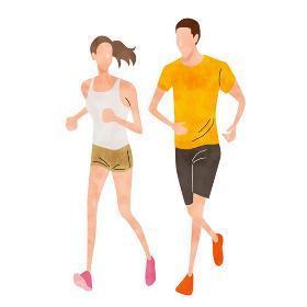 イラスト素材:スポーツ、カップル、ランニング