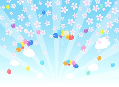空に桜と風船