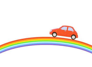 虹と赤い車