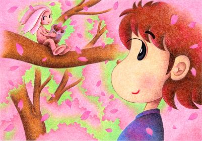 少女と桜の妖精