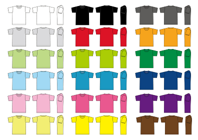 アパレルテンプレート / 半袖Tシャツ べクターイラストセット(カラーバリエーション)
