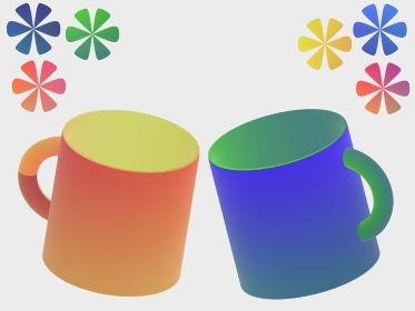 ペアマグカップと花の3d illustration