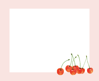 さくらんぼ サクランボ チェリー ピンク 枠 手描き イラスト