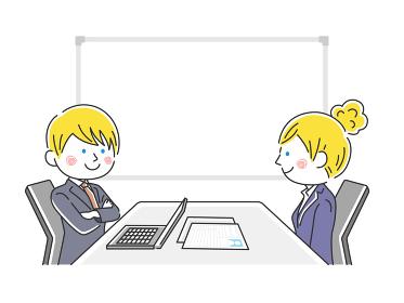 企業の就職面接をうける白人女性のイラスト