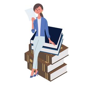 働く人々 書類をもつ女性 イラスト アイソメトリック