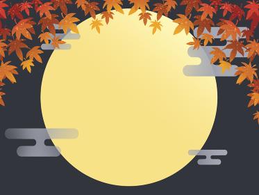 満月と秋のもみじ