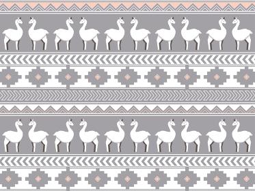 南米の民族風の図形とリャマのパターン