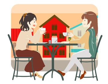 カフェで友達と過ごす女性 町並み(線無し)