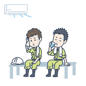 涼しい場所で休憩する男性作業員2人のイラスト