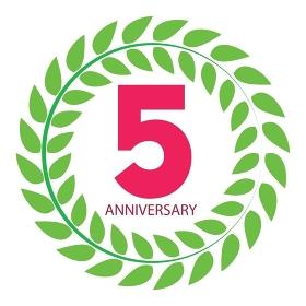 Template Logo 5 Anniversary in Laurel Wreath Vector Illustration EPS10. Template Logo 5 Anniversary in Laurel Wreath Vector Illustration