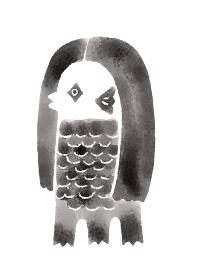 白黒アマビエ様の水彩イラスト