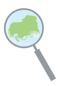 虫眼鏡ルーペ拡大鏡と広島県の詳細地図中国地方 都道府県別地図のイラスト ベクターデータ