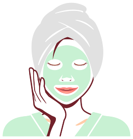 若い日本人女性 風呂上がり・バスタイム 上半身イラスト / フェイスパック・シートマスク