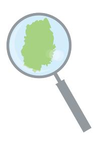 虫眼鏡ルーペ拡大鏡と岩手県の詳細地図東北地方|都道府県別地図のイラスト ベクターデータ