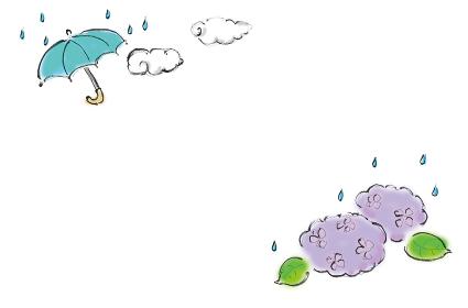 和風手描きイラスト素材 フレーム 飾り 6月 雨 傘 あじさい