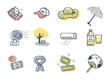 様々な熱中症対策のアイテム セット