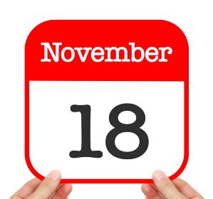 November 18 written on a calendar