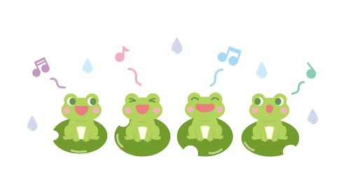 カエルの合唱 かわいいイラスト素材