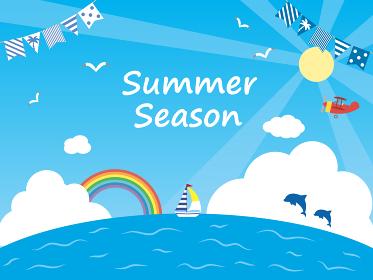 夏 シンプルな海と青空の背景イラスト素材