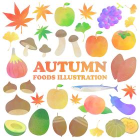 秋の食材の水彩イラストセット