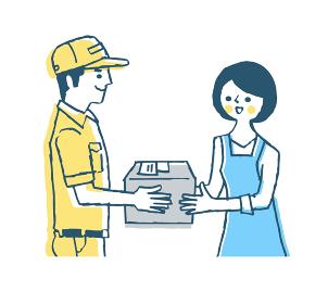 宅配業者と荷物を受け取る女性