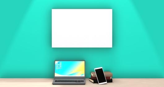 ノートパソコンとスマートフォンと本 ホワイトスペース 3DCG