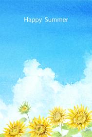 暑中はがきテンプレート縦 ひまわりと入道雲