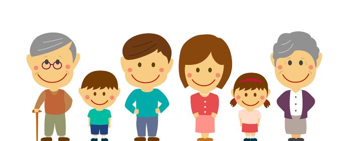 デフォルメ・二頭身 全身人物イラスト / 一列に横並びの家族 (二世帯/両親・親子・祖父母)