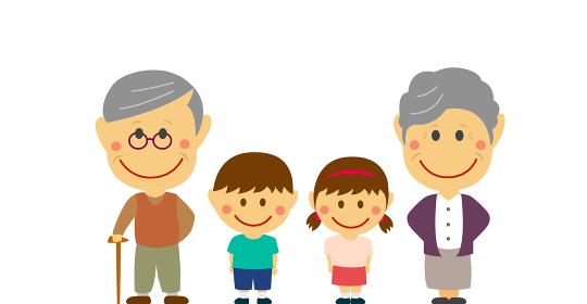 デフォルメ・二頭身 全身人物イラスト / 一列に横並びの家族 (祖父母と孫)