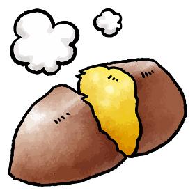 焼き芋の手描きベクターイラスト