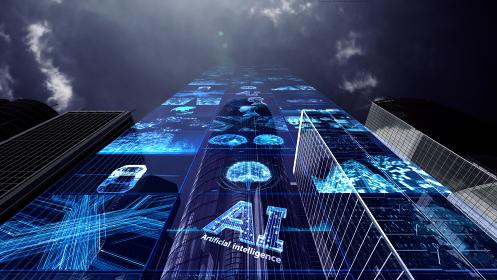 スマートシティ 人工知能 監視社会 都市 ネットワーク テクノロジー 3D イラスト