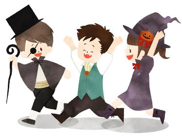 ハロウィンの仮装をしている子供たち 水彩