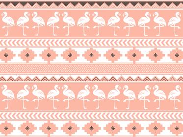 南米の民族風の図形とフラミンゴのパターン