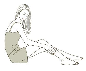 ビューティー 全身をスキンケアする女性のイラストレーション
