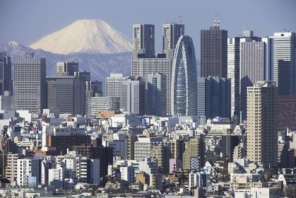 富士山と新宿の高層ビル群