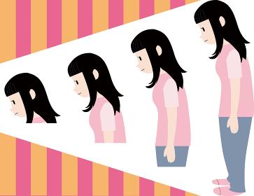 背中を丸めた悪い姿勢のイラスト