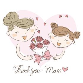 母の日 お母さんにカーネーションの花束をプレゼントをする少女