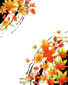 秋の紅葉 水彩風背景素材 和柄 落葉 和風素材