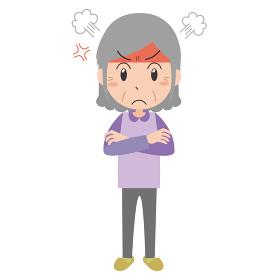 怒るシニア女性
