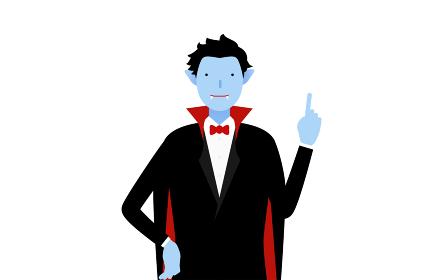 ハロウィンの仮装、バンパイア姿の男性が指さしをするポーズ